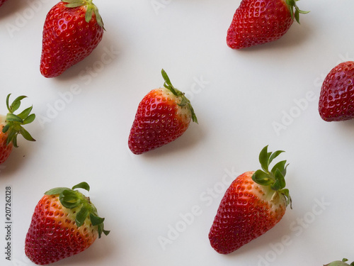 Strawberries pattern on white background - 207262128