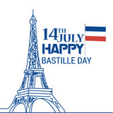 Creative vector Illustration,Card,Banner Or Poster For The French National Day.Happy Bastille Day