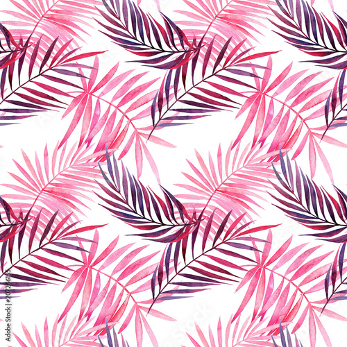 Watercolor seamless pattern with tropical violet and pink leaves. - 207266155