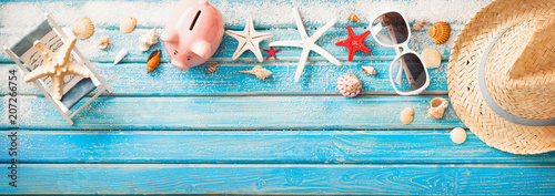 Beach Accessories With Seashells On Wooden Board - 207266754