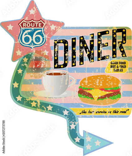 grungy retro route 66 diner sign, vintage advertising signage vector illustration