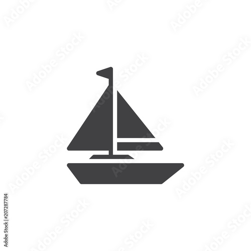 Sailboat vector icon. filled flat sign for mobile concept and web design. Sailing boat simple solid icon. Yacht symbol, logo illustration. Pixel perfect vector graphics