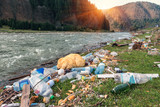 plastic garbage on the river bank - 207289355