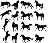 Vector set of horses silhouettes.