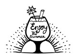Inscription: enjoy the summer. Motivational quotes. cocktail