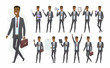 African businessman - vector cartoon people character set