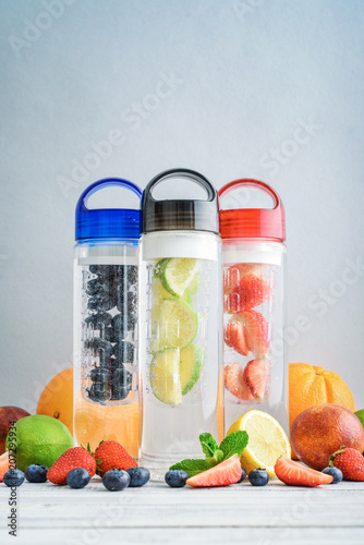 Infused detox water in bottles