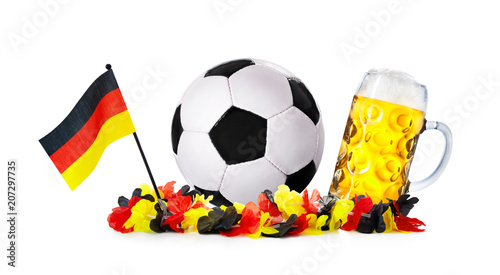 Glass with beer, soccer ball with german flag and flower chain - 207297735