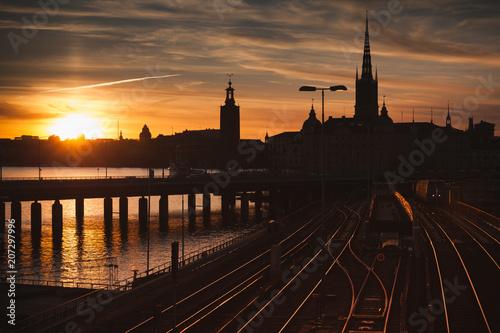 Fotobehang Stockholm Gamla Stan at sunset, Stockholm, Sweden