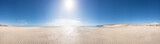 Panorama of the sandy sea beach with the sun