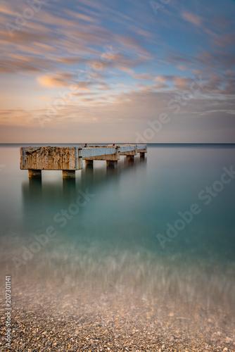 Aluminium Nice Longue exposition durant le lever du soleil du ponton du Lido Plage à Nice