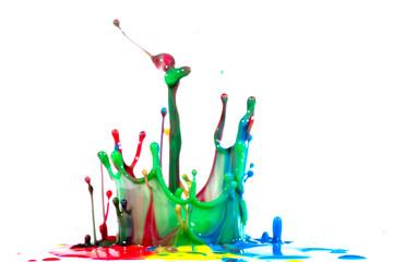 Isolated shot of paint splashing on white