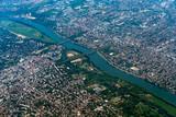 Seine river paris region aerial view