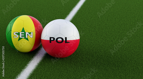 Poland vs. Senegal Soccer Match - Soccer balls in Senegals and Polands national colors on a soccer field. Copy space on the right side - 3D Rendering