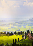Italy; San Quirico d'Orcia; sunset over Tuscan Valdorcia rolling hills - 207307591