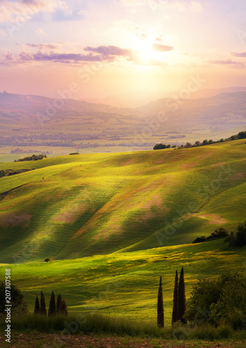 Leinwanddruck Bild Italy; San Quirico d'Orcia; sunset over Tuscan Valdorcia rolling hills