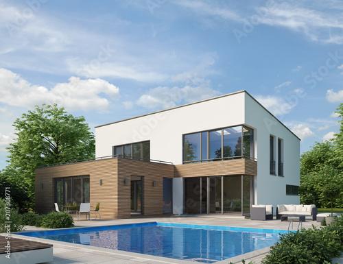 Fridge magnet Pultdachhaus mit Pool am Tag