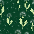 Seamless pattern of the dandelions with their seeds