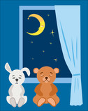 Teddy bear and plush bunny to sleep in the starry night