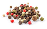 Black, red, green, white and allspice peppercorns isolated on white background. Heap of spice. Mix of different peppers. Full depth of field. - 207315740