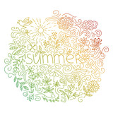 Summer postcard. Doodle summer card with floral elements, flowers, sun, curly lines. Vector illustration. - 207317925