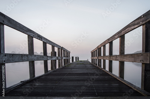 Canvas Pier Jetty in the morning sun on a misty day