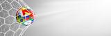 Fußball Tor Netz Hintergrund mit Länder Fahnen Flaggen - 207321707