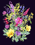 Watercolor summer medicinal floral card, Wild flowers plant - 207332793