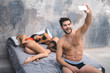 Man wake up after night threesome and take selfie