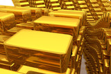 Gold bars or bricks, floating around, modern style background or texture. Surface, design, concept & effect. - 207344369