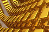 Gold bars or bricks, floating around, modern style background or texture. Bunch, decoration, pattern & 3d. - 207344764