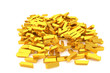 Bunch or pile of gold bars or brick, modern style background or texture. Rendering, art, business & shape.