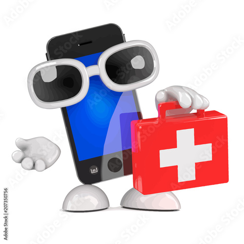 Vector 3d Smartphone first aid kit
