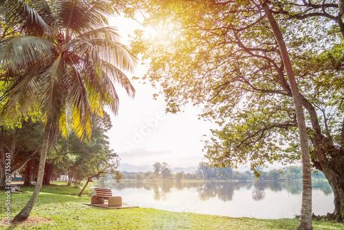 Fotobehang Kuala Lumpur Beautiful morning view of the Kuala Lumpur Titwangsa Lake Gardens.