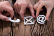 Hands Assembling Contact Us Icons