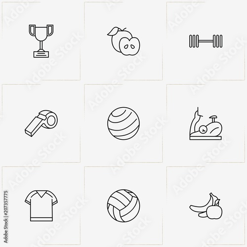 Fototapeta Fitness line icon set with trophy, exercise bike and apple