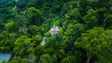 aerial view the high pagoda on the mountain Tapon cave temple in Phang Nga province. - 207361542
