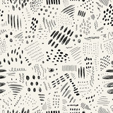 Abstract monochrome seamless pattern with lines, spots and dots. Vector texture on a white background - 207369397