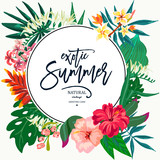Vector summer natural vintage exotic greeting card  with tropical leaves, flowers, hibiscus, orchid. Botanical illustration  - 207370546