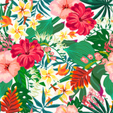 Vector summer natural vintage exotic seamless pattern with tropical leaves, leaves, flowers, hibiscus, orchid. Botanical illustration  - 207370740