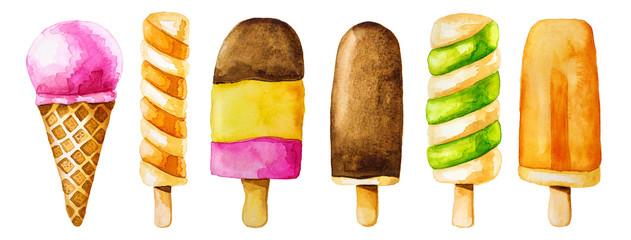 Watercolor clip art set with colorful icecream © Elena Schweitzer