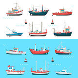 Fishing boats side view and buoys with blue sea background and isolated on white. Side view illustration.