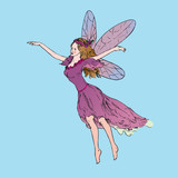 Beautiful young fairy dancing and flying in wind in pink dress, hand drawn outline doodle sketch, vector illustration