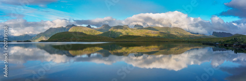Fotobehang Blauw Arctic mountains and fjord in northern Norway at summer