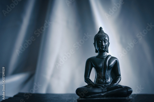Aluminium Boeddha black statue of Buddha