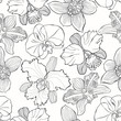 Floral seamless pattern with hand drawn different orchids. Vector black and white illustration. Contour drawing.