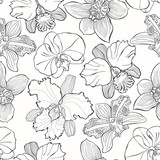 Floral seamless pattern with hand drawn different orchids. Vector black and white illustration. Contour drawing. © maritime_m