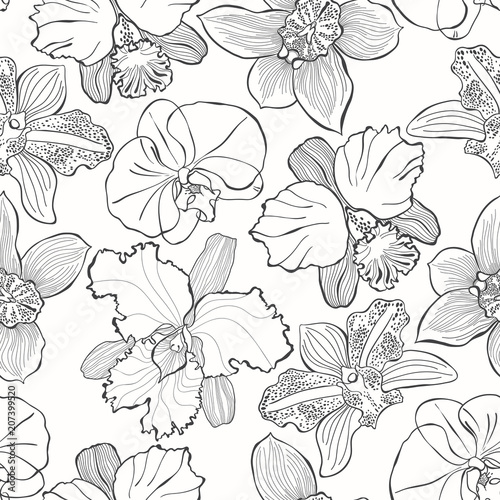 Floral seamless pattern with hand drawn different orchids. Vector black and white illustration. Contour drawing. - 207399520