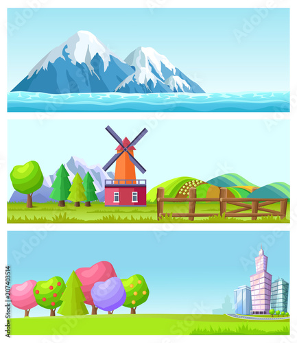 Plexiglas Pool Beautiful Cartoon Flat Vector Landscapes Set