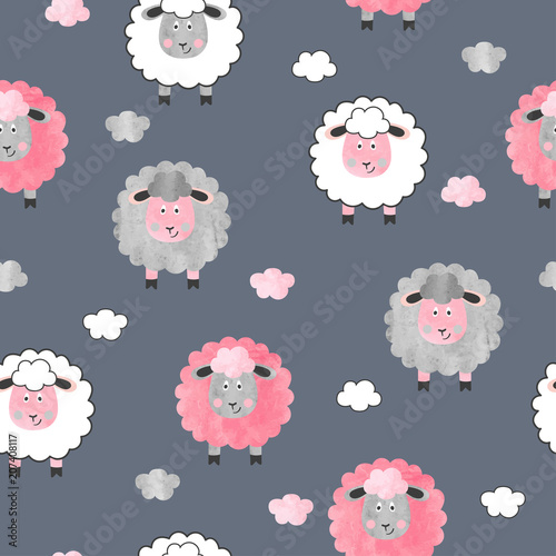 Seamless watercolor cute sheep pattern. Vector childish background.